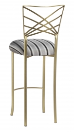Gold Fanfare Barstool with Charcoal Striped Cushion