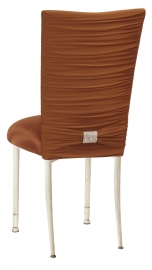 Chloe Copper Stretch Knit Chair Cover with Rhinestone Accent Band and Cushion on Ivory Legs