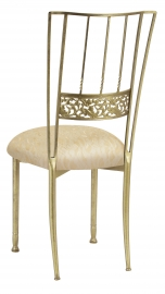 Gold Bella Fleur with Ivory Lace over Ivory Knit Cushion