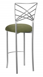 Silver Fanfare Barstool with Sage Suede Cushion