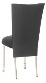 Charcoal Linette Chair Cover and Boxed Cushion on Ivory Legs