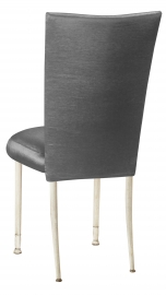 Charcoal Taffeta Chair Cover with Boxed Cushion on Ivory Legs