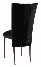 Black Patent 3/4 Chair Cover with Black Stretch Knit Cushion on Mahogany Legs