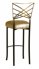 Two Tone Fanfare Barstool with Gold Leatherette Boxed Cushion