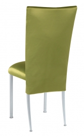 Lime Satin 3/4 Chair Cover and Cushion on Silver Legs