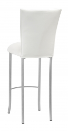 White Leatherette Barstool Cover and Cushion on Silver Legs