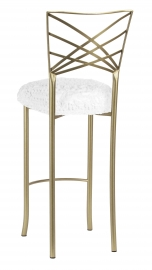 Gold Fanfare Barstool with White Lace over White Knit Cushion