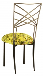 Two Tone Fanfare with Yellow Paint Splatter Stretch Knit Cushion