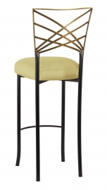 Two Tone Gold Fanfare Barstool with Light Pear Taffeta Boxed Cushion