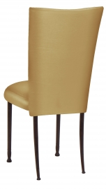 Gold Taffeta Chair Cover with Boxed Cushion on Mahogany Legs
