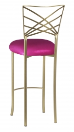 Gold Fanfare Barstool with Metallic Fuchsia Knit Cushion