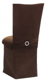 Chocolate Suede Chair Cover with Jewel Belt, Cushion and Skirt