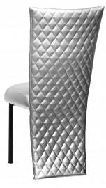 Silver Quilted Leatherette Jacket and Silver Stretch Vinyl Boxed Cushion on Black Legs