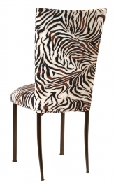 Zebra Stretch Knit Chair Cover and Cushion on Brown Legs