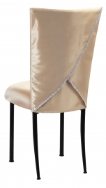 Champagne Deore Chair Cover with Buttercream Cushion on Black Legs