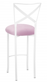 Simply X White Barstool with Soft Pink Velvet Cushion