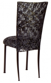 Two Tone Gold Fanfare with Black Lace Chair Cover and Black Lace over Black Stretch Knit Cushion