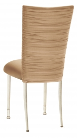 Chloe Beige Stretch Knit Chair Cover and Cushion on Ivory Legs