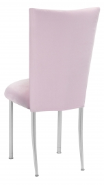 Soft Pink Velvet Chair Cover and Cushion on Silver Legs