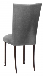 Gunmetal Stretch Knit Chair Cover with Cushion on Mahogany Legs